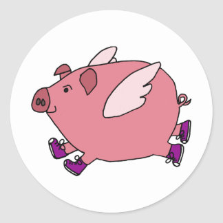 XX- Funny Flying Pig with Sneakers Classic Round Sticker