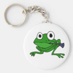 Xx- Funny Frog Playing Clarinet Keychain at Zazzle