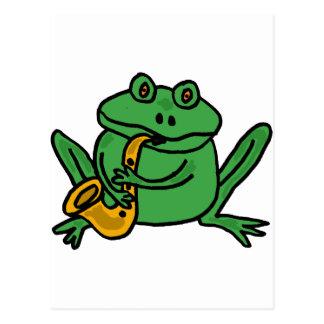 XX- Funny Frog Playing Saxophone Postcard