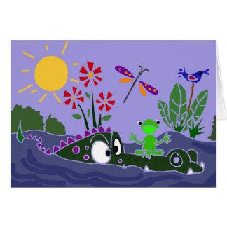 XX- Funny Frog Sitting on a Gator Cartoon Greeting Card