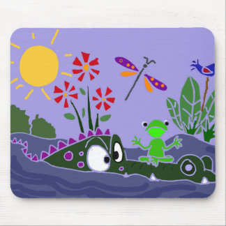 XX- Funny Frog Sitting on a Gator Cartoon Mouse Pad