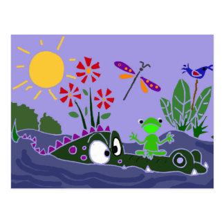 XX- Funny Frog Sitting on a Gator Cartoon Postcard