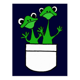 XX- Funny Frogs in a Pocket Design Postcard