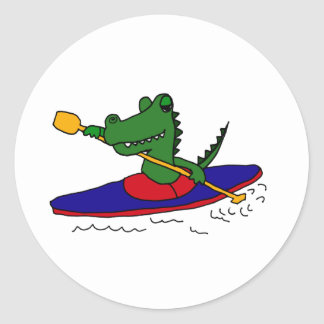 XX- Funny Gator Kayaking Classic Round Sticker