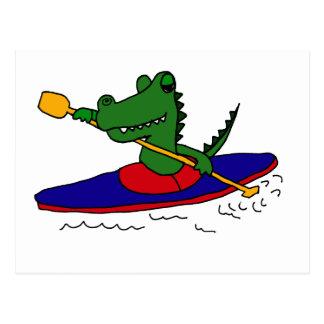 XX- Funny Gator Kayaking Postcard