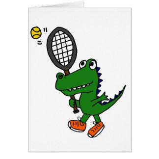 XX- Funny Gator Playing Tennis Card