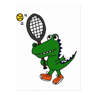XX- Funny Gator Playing Tennis Postcard
