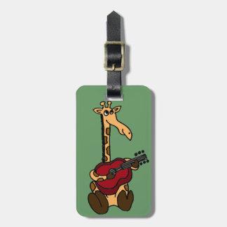 XX- Funny Giraffe Playing Guitar Bag Tag