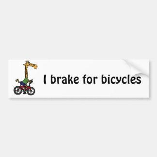 XX- Funny Giraffe Riding Bicycle Cartoon Bumper Sticker