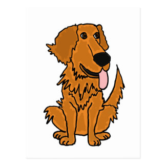 XX- Funny Golden Retriever Dog Cartoon Postcard