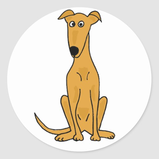 XX- Funny Greyhound Dog Cartoon Round Sticker