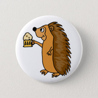 XX- Funny Hedgehog Rasing a Pint Button