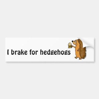 XX- Funny Hedgehog Rasing a Pint Car Bumper Sticker