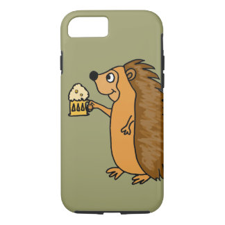 XX- Funny Hedgehog Rasing a Pint iPhone 7 Case