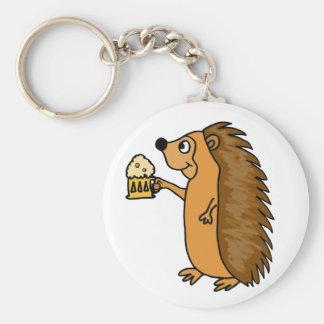 XX- Funny Hedgehog Rasing a Pint Key Chain