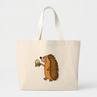 XX- Funny Hedgehog Rasing a Pint Large Tote Bag