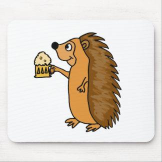 XX- Funny Hedgehog Rasing a Pint Mouse Pad