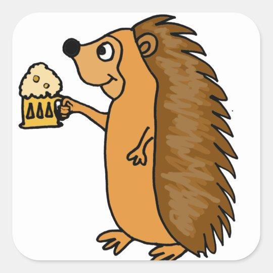 XX- Funny Hedgehog Rasing a Pint Square Sticker