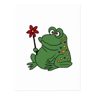 XX- Funny Hippie Frog holding Daisy Postcard