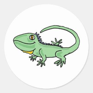 XX- Funny Iguana Cartoon Classic Round Sticker