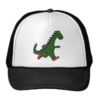 XX- Funny jogging dinosaur with Red Sneakers Mesh Hats