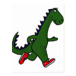 XX- Funny jogging dinosaur with Red Sneakers Postcard