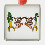 XX- Funny Monkeys in Tree Square Metal Christmas Ornament