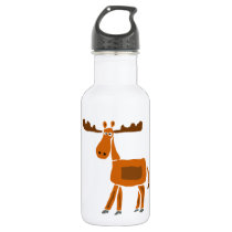 XX- Funny Moose Art Design Stainless Steel Water Bottle