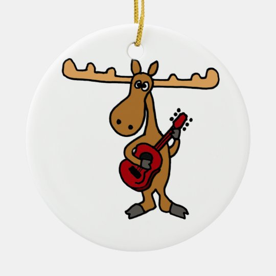 XX- Funny Moose Playing Guitar Cartoon Ceramic Ornament