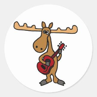 XX- Funny Moose Playing Guitar Cartoon Classic Round Sticker
