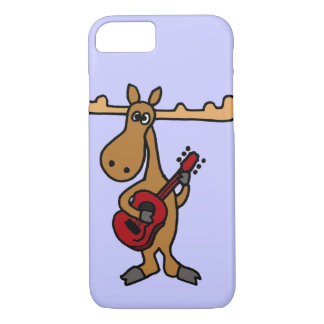 XX- Funny Moose Playing Guitar Cartoon iPhone 8/7 Case