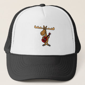 XX- Funny Moose Playing Guitar Cartoon Trucker Hat
