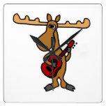 XX- Funny Moose Playing Guitar Cartoon Wall Clocks