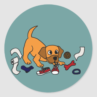XX- Funny Naughty Puppy Dog Cartoon Classic Round Sticker