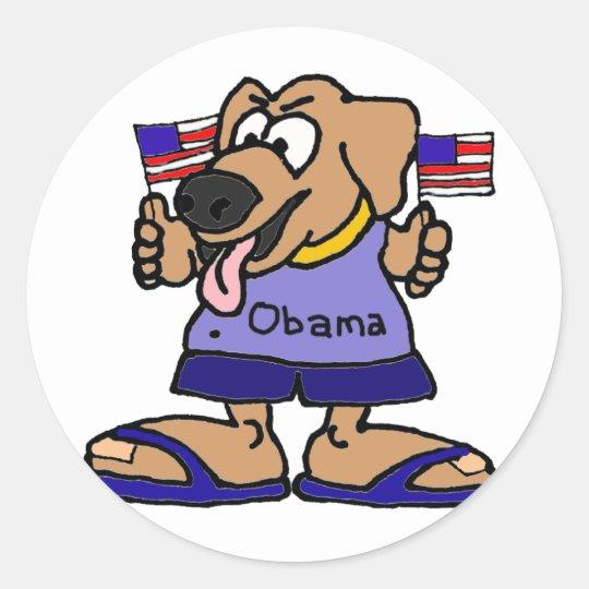 XX- Funny Obama Supporter Dog Cartoon Classic Round Sticker