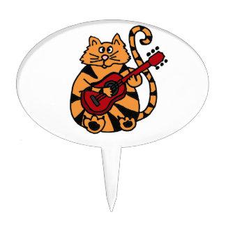 XX- Funny Orange Tiger Cat Playing Guitar Cake Topper