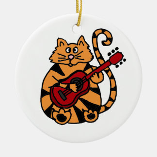 XX- Funny Orange Tiger Cat Playing Guitar Ceramic Ornament