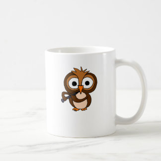 XX- Funny Owl Playing the Clarinet Classic White Coffee Mug