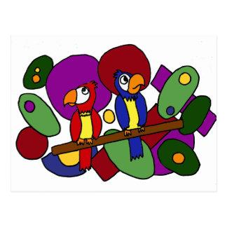 XX- Funny Parrots Art Postcard