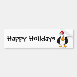XX- Funny Penguin in a Santa Claus Hat Bumper Sticker