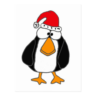 XX- Funny Penguin in a Santa Claus Hat Postcard