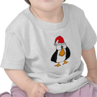 XX- Funny Penguin in a Santa Claus Hat Tshirts