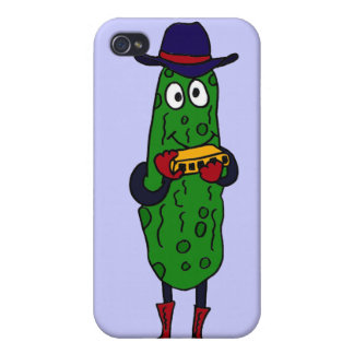 XX- Funny Pickle Playing Harmonica Cartoon iPhone 4/4S Cover