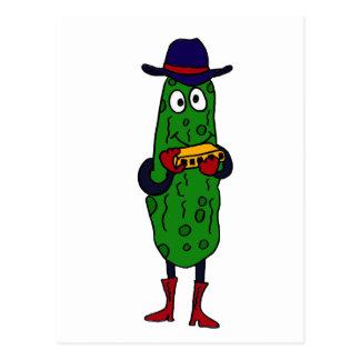 XX- Funny Pickle Playing Harmonica Cartoon Post Card