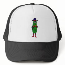 XX- Funny Pickle Playing Harmonica Cartoon Trucker Hat