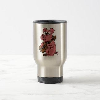 XX- Funny Pig Playing Guitar Cartoon Travel Mug