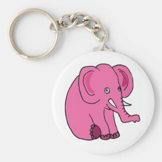 XX- Funny Pink Elephant Basic Round Button Keychain
