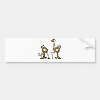XX- Funny Political Ostriches Cartoon Bumper Sticker