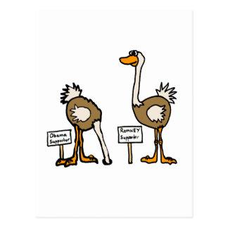 XX- Funny Political Ostriches Cartoon Postcard