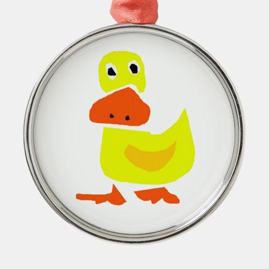 XX- Funny Primitive Art Duck Metal Ornament
